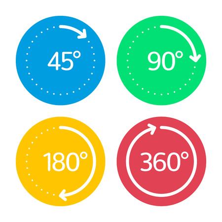 deg: Angle degrees circle icons set.