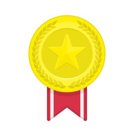 gold star: Gold medal with star and ribbon.