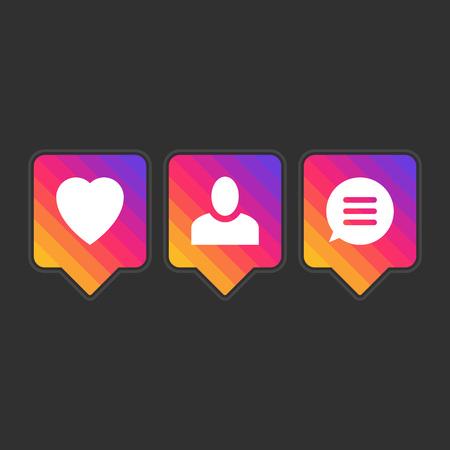 Like follower comment icons. Фото со стока - 70975229