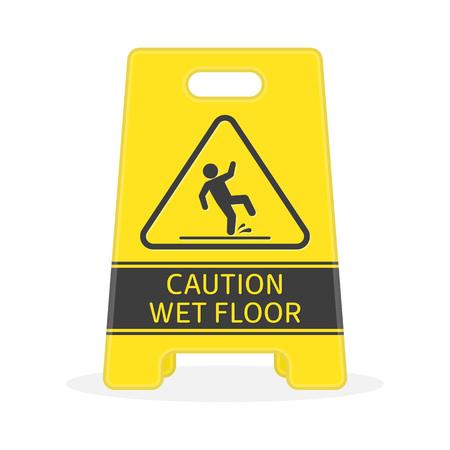 slippery floor: Wet floor sign. Illustration