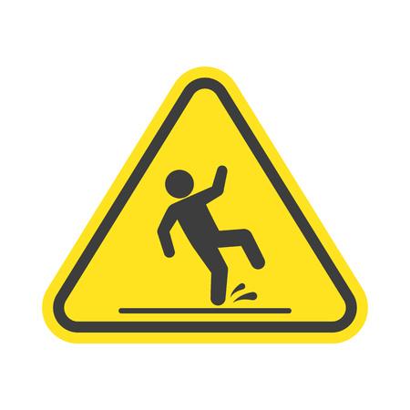 slip homme: Panneau d'avertissement de plancher humide. Illustration