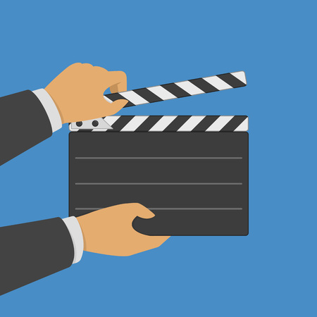 Black opened clapperboard in hands. Illustration
