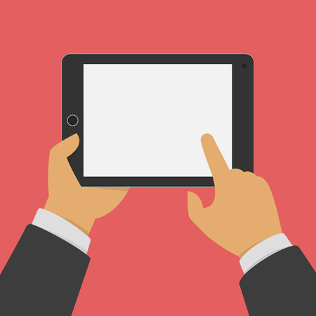 tablet pc in hand: Man holding tablet in hands. Illustration