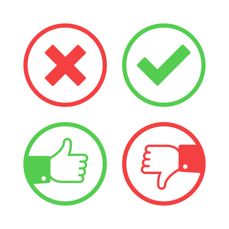 right choice: Confirm and reject icons.