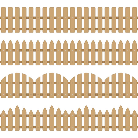 Different seamless wooden fence. Illustration