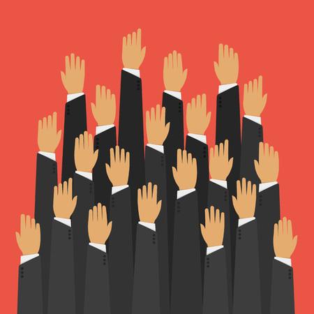 electors: Raised up hands.