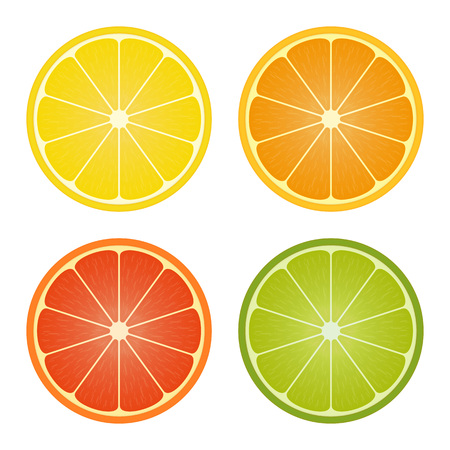 Citrus fruits Collection. Lemon, orange, grapefruit, lime colorful slices icons set. Design template for cooking or restaurant menu. Vector illustration in flat style. EPS 10.