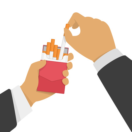 Man holding open pack of cigarettes in hand. Smoker pulls a cigarette out of the pack. Bad habits or dangers of smoking concept. Vector illustration EPS 10. Illustration