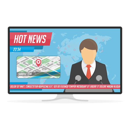 Anchorman on tv broadcast news. Breaking news or Hot news live on the TV screen. Announcer in the studio on world map background. Media on Television concept. Vector illustration in flat style. EPS 10 Illustration