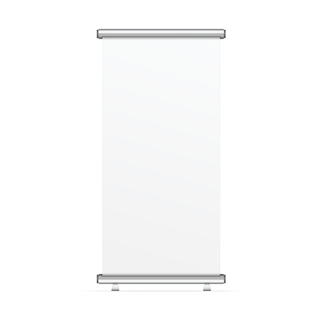 Blank realistic roll-up banner template isolated on white background. Corporate vertical flyer mock-up. Vector illustration.