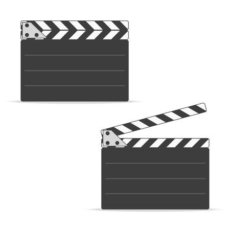 Close and open movie clapper board icon, in flat style. Stock Illustratie