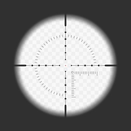 Realistisches Scharfschützenvisier mit Messmarken. Scharfschützenbereichschablone lokalisiert auf transparentem Hintergrund. Blick durch ein Zielfernrohr. Vektor-illustration Vektorgrafik