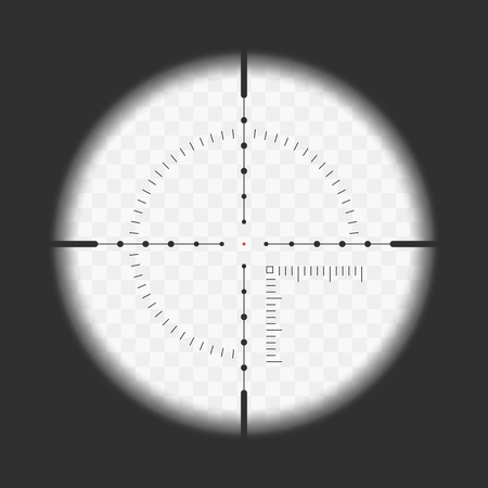Realistic sniper sight with measurement marks. Sniper scope template isolated on transparent background. View through a rifle scope. Vector illustration.