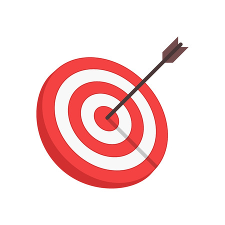 Target with arrow in modern flat style isolated on white background. Goal achieve or Business success concept. Vector illustration.