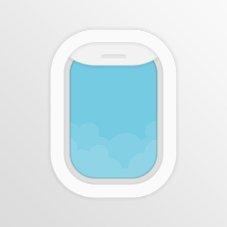Aircraft,airplane windows with cloudy blue sky outside. Travel or tourism concept. Vector illustration in flat style.