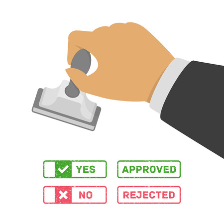 Stamp in hand with various options of marks - yes, no, approved and rejected. Business man stamping approving or disapproving stamps. Vector illustration in flat style. Vettoriali