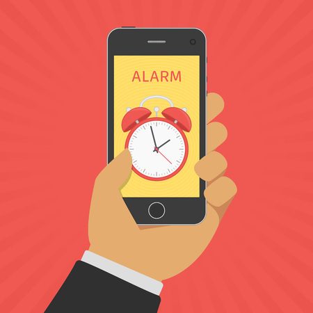 Business man hand holding smartphone with app alarm clock on screen. Time, reminder concept vector illustration. Vectores