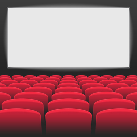 Interior of cinema movie theater with blank white screen. Rows of red cinema or theater seats on transparent background. Premiere event template vector illustration.
