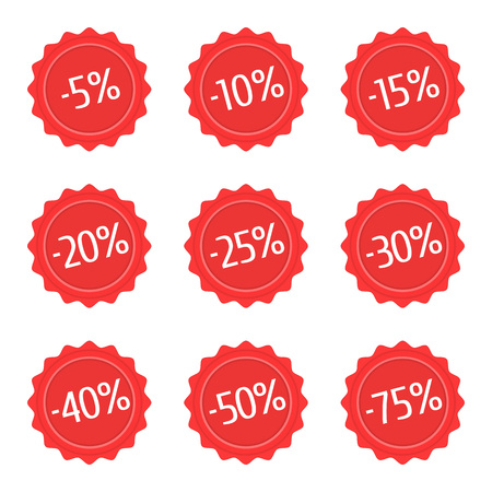 Red discount stickers set. Sale vector label icons for shop. Sales badge -5 , -10 , -15 , -20 , -25 -30 -40 -50 -75 Vector illustration in flat style.