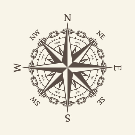 Wind rose vector illustration. Nautical compass icon isolated on background. Design element for marine theme and heraldry. EPS 10. Vettoriali