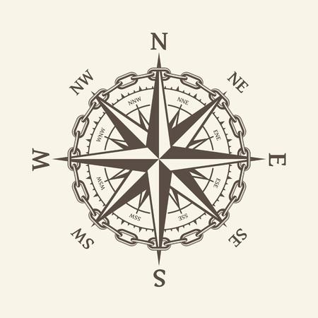 Viento rosa ilustración vectorial. Icono de brújula náutica aislado en el fondo. Elemento de diseño para temática marina y heráldica. EPS 10. Ilustración de vector