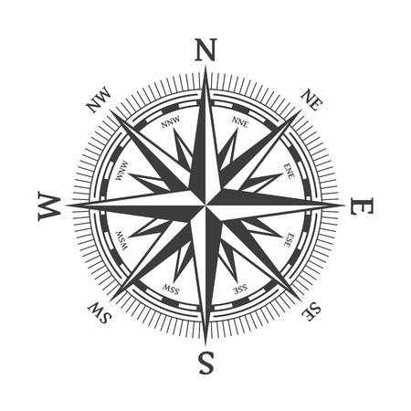 Ilustración de vector de rosa de los vientos. Icono de brújula náutico aislado sobre fondo blanco. Elemento de diseño para tema marino y heráldica. EPS 10.