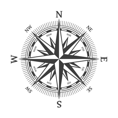 Wind rose vector illustration. Nautical compass icon isolated on white background. Design element for marine theme and heraldry. EPS 10. Stock Illustratie