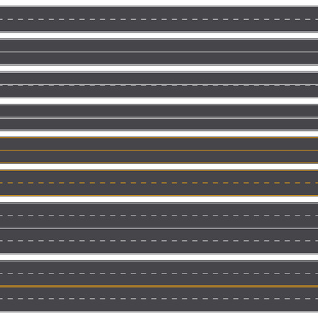 Set of straight asphalt roads with different markings. Seamless road background template. Vector illustration. EPS 10. 向量圖像