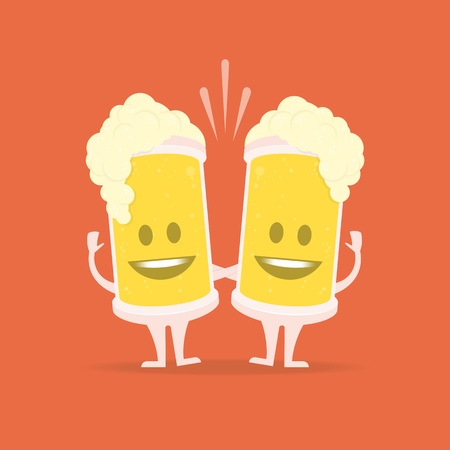 Two character beer glasses with smile. Concept of Beer Festival. Light alcoholic drink, cool foam vector illustration. Çizim