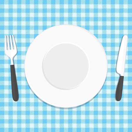 White plate, knife and fork on blue tablecloth. Place for dinner, restaurant or cafe concept. Vector illustration in modern flat style. EPS 10.  イラスト・ベクター素材