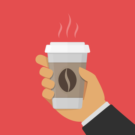 Paper cup of coffee in businessman hand. Man holds a disposable plastic glass of hot drink. Coffee to go concept. Vector illustration in flat style.