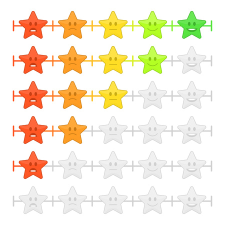 Feedback emoticon bar. Rank or level of satisfaction rating. Review in form of emotions, smileys, emoji. User experience. Customer Feedback Manometer vector set in flat style. Imagens - 92745938