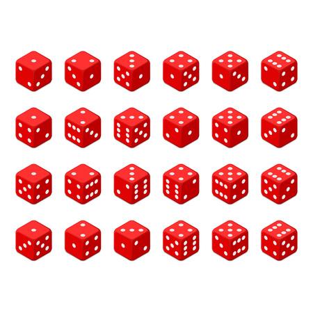 Set of red isometric dice.