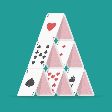 Illustration of house of cards. Çizim