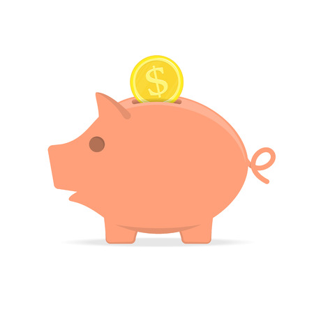 Piggy bank with coin. Stock Illustratie
