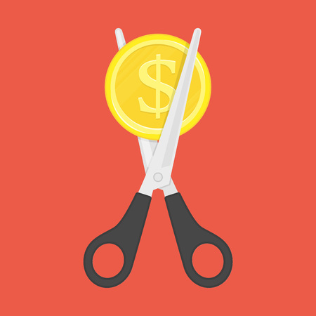 Scissors cutting money. Stock Illustratie
