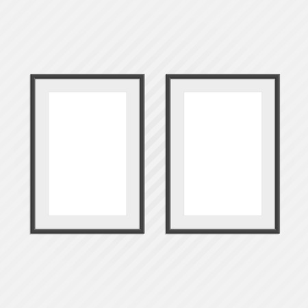 Black photo frames set. Illustration