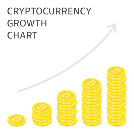 Cryptocurrency growth chart. Illustration