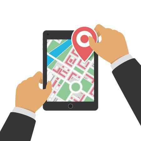 Tablet with gps navigation. Illustration