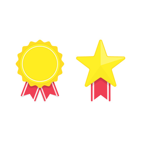 Vector badges template isolated on white background. Award Badge icons in flat style. Golden star ribbon badge pattern. Certified Medals collection. Design elements EPS 10. Illustration