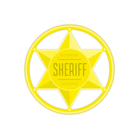 Sheriff badge in flat style. Golden sheriff star isolated on white background. Cartoon hexagonal police token. Concept of law enforcement or justice. Vector illustration EPS 10.