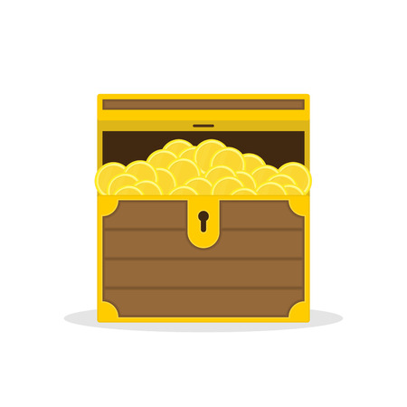 Open chest with gold. Treasure of golden coins isolated on white background. Concepts of wealth or hoard. Vector illustration in flat style. EPS 10.