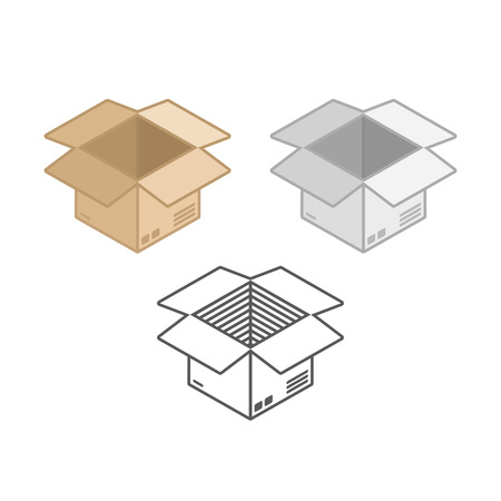 Cardboard box icons set. Delivery, packaging, transportation or shipping concept. Opened brown and white paper boxes in flat style. Vector illustration EPS 10. Illustration