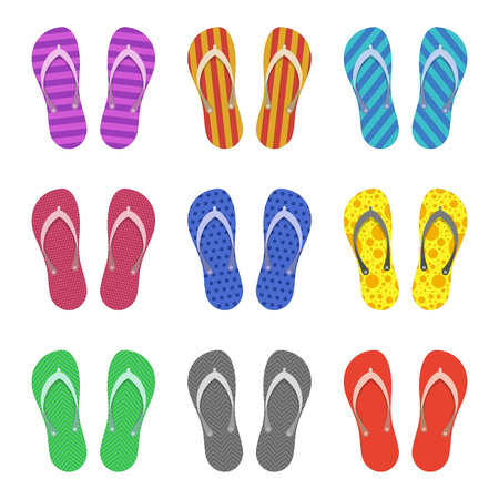 Beach Slippers set isolated on white background. Modern flip flops in flat style. Summer or holiday time concept. Vector illustration. EPS 10.