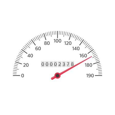 Car speedometer isolated on white background. Simple black gauge in flat style. Automobile tachometer or odometer with speed panel. Vector illustration EPS 10.