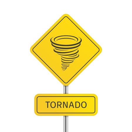 Warning tornado sign. Illustration
