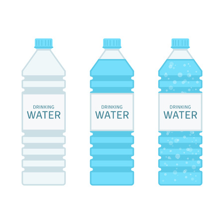 Bottle with clean mineral water in flat style. Set of Plastic bottles with fresh, drinking Water isolated on white background. Concept of a healthy lifestyle. Vector illustration EPS 10. Illustration