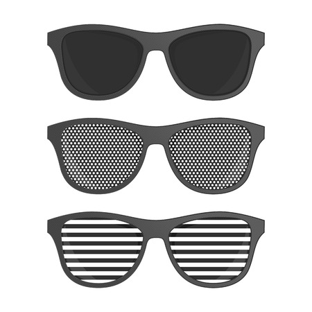 Striped perforation sunglasses isolated on white background. Sunglasses set in realistic style. Eyeglasses. Vector Glasses with black lenses. EPS 10.