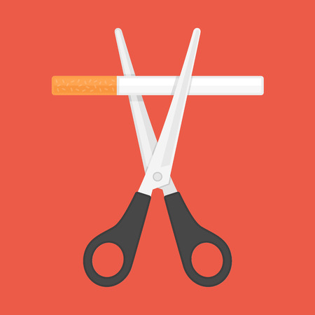 Tobacco abuse, no smoking concept. Scissors cut a cigarettes. Reject Cigarettes offer. Vector illustration in flat style. EPS 10.