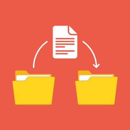 Files transfer. Two folders and transferred documents. Copy files, data exchange or backup concepts. Document moving from one folder to another. Vector illustration in flat style. EPS 10.